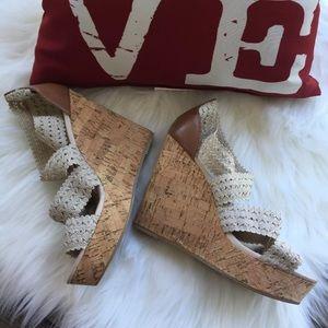 Steve Madden   Elston Cork Wedge Heels 9 Cream